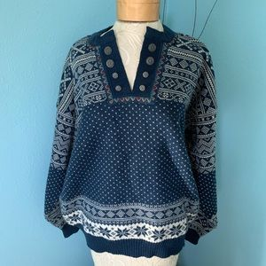 Dale of Norway Large Fair Isle Blue Wool Sweater